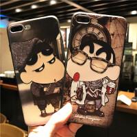 蜡笔小新苹果6手机壳iphone7plus全包硅胶8x浮雕XS卡通6s男女款5s iPhone X 可乐小新