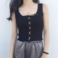 春夏2018新款吊带背心女修身显瘦针织系带短款上衣外穿内搭打底衫