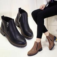 女式 秋冬新款韩版中跟百搭马丁靴时尚百搭女靴