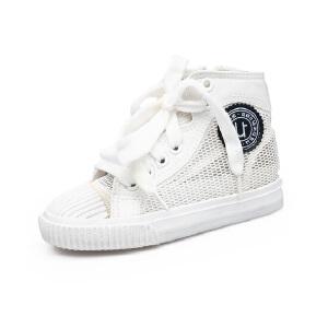 比比我女童白色帆布鞋2017春秋新款儿童帆布鞋女高帮透气休闲鞋潮