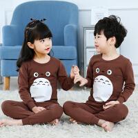 儿童秋衣秋裤套装女孩男童保暖内衣女童7宝宝纯棉男孩12岁 咖啡色 海豹