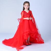 女童公主裙儿童礼服长裙拖尾婚纱裙小主持人钢琴演出服晚礼服夏季