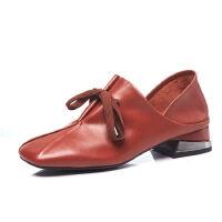 WARORWAR 2019新品YG35-886春季欧美优雅头层小牛皮全皮低跟鞋方头女鞋潮流时尚潮鞋百搭潮牌单鞋女