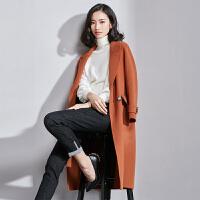 梵希蔓清仓双面呢大衣2017新款秋冬羊毛呢子外套焦糖色