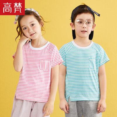 高梵2018新款儿童T恤 女童休闲条纹打底衫男童短袖时尚宽松春装潮