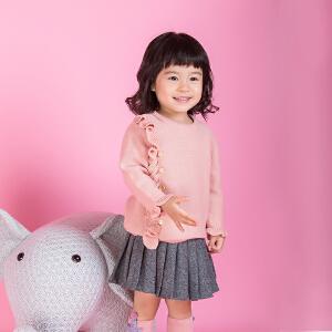 秋冬女童中小童粉色荷叶边开衫毛衣纯棉宝宝不对称套头衫