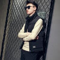 羽�q棉�R甲男士秋冬季修身�n版潮加厚保暖棉背心2018新款�o袖外套