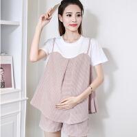 孕妇夏天两件套2018新款千鸟格时尚韩版托腹短裤孕妇夏装套装短袖9627