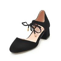WARORWAR法国 2019新品YGN099-C3-7夏季韩版磨砂绒面中跟粗跟高跟女鞋潮流时尚潮鞋百搭潮牌凉鞋女