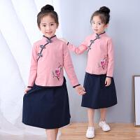 汉服女童中小儿童宝宝民国学长袖秋款套装复古中国民族风服装唐装