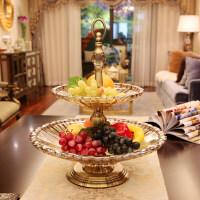 18新款欧式玻璃双层果盘现代创意样板房装饰品家居软装摆件时尚果盆果斗 双层果盘