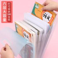 日本国誉大容量A4风琴包手提竖版书本袋科目多层分类文件夹试卷票据收纳学生用透明卷子资料册竖款小清新文具