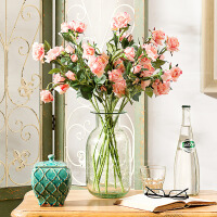 奇居良品 仿真花套装 格林玻璃花瓶小号配多头迷你小玫瑰8支 深粉色