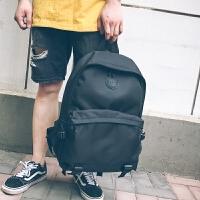 男士书包潮流街头韩版时尚大学生高中春季黑色旅行双肩背包防泼水 黑色