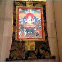 西藏藏传佛教用品 手编布镀金(烫金)藏密唐卡佛像 三怙主 长90cm