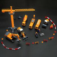 工程车套装惯性玩具车挖掘机装载车搅拌车吊车卡车模型男孩礼