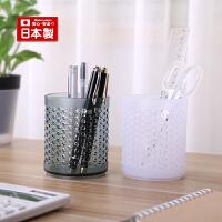 inomata日本进口文具收纳筒圆形塑料笔筒桌面收纳筒办公用品