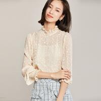【清仓99元】梵希蔓雪纺上衣女洋气时尚春秋新款韩版长袖甜美仙气雪纺衫