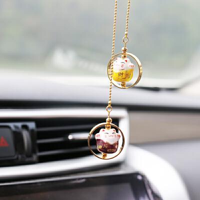 车内创意招财猫汽车挂件车用饰品车载可爱装饰品女车挂后视镜吊坠SN1025