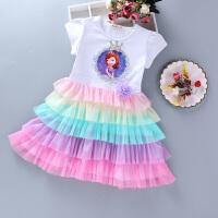公主裙女童连衣裙夏季彩虹裙子儿童童装短袖亚蛋糕裙
