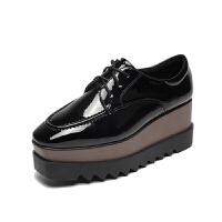 松糕鞋女厚底增高英伦百搭2018秋季新款坡跟漆皮方头系带休闲单鞋软底