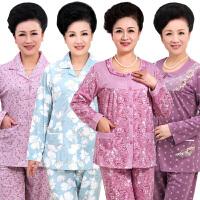 妈妈睡衣女秋纯棉长袖中老年家居服开衫老年人套装奶奶睡衣可外穿