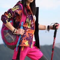 小银子户外女士登山软壳衣冲锋衣迷彩加绒保暖修身外套大码潮秋款 迷彩 橘色