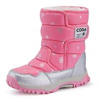 女童靴子2018秋冬新款冬季加绒加厚中筒儿童雪地鞋棉靴男童短靴潮