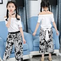 女童夏装新款套装洋气 儿童韩版时髦阔腿裤+露肩t恤两件套装