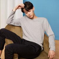【1件2折到手价:23.8】美特斯邦威长袖T恤男新款秋季休闲纯色韩版上衣体恤套头衫潮