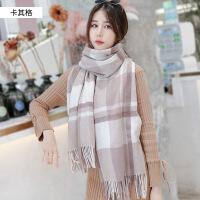 羊毛格子围巾女秋冬季韩版百搭超大加厚长款披肩仿羊绒围脖两用冬天