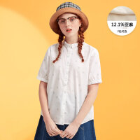 【2件2.5折到手价:26.5】美特斯邦威短袖衬衫女含亚麻半袖衫韩版百搭夏装新款商场款