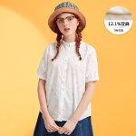 【全场2件2.5折,到手价:25】美特斯邦威短袖衬衫女含亚麻半袖衫韩版百搭夏装新款商场款