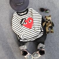 男童长袖T恤 春季韩版童装 儿童宝宝圆领条纹爱心卫衣打底衫