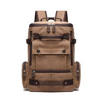 圆筒帆布韩版背包大容量单肩书包旅行水桶行李包男士多功能双肩包