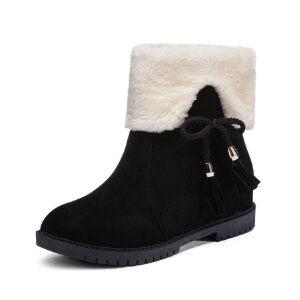 WARORWAR 2019新品YM10-F9冬季英伦磨砂反绒内增高坡跟女鞋潮流时尚潮鞋百搭潮牌两穿雪地靴