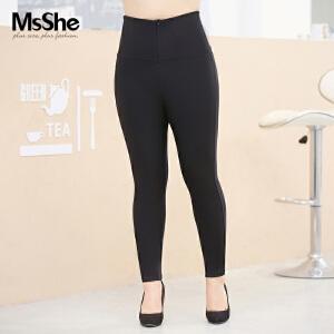 MsShe大码女装2017新款秋装橡筋腰高腰胖MM束腹打底裤M1630398