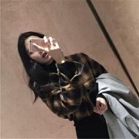 2018春季新款韩版长袖衬衫女学生春装宽松显白黄格子衬衣 黄格子