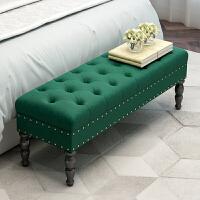 床尾凳卧室美式欧式长条凳沙发凳床前脚边进门布艺实木试穿换鞋凳