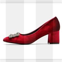 婚鞋女2018新款新娘鞋结婚水晶鞋秋冬尖头粗跟单鞋红色伴娘高跟鞋SN1891 酒红色【6cm 】