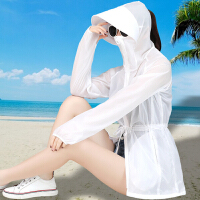 防晒衣女中长款2018夏季新款长袖连帽韩版宽松百搭沙滩服薄款外套