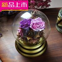 永生花礼盒玻璃罩摆件玫瑰水晶球音乐盒 生日七夕情人节礼物