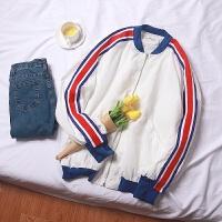 夹克男春秋薄款棒球领休闲运动外套男韩版修身帅气条纹棒球服