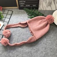 儿童毛线帽冬季护耳帽男女宝宝针织套头帽毛球保暖手工帽秋韩版潮 均码