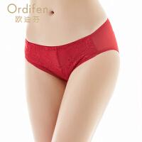 【2件3折到手价约:29】欧迪芬女士内裤性感蕾丝网纱透明女式三角内裤XP6259