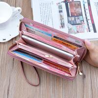 新款钱包女士长款拉链大容量手机包百搭爱心彩色镂空手拿包