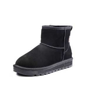 意尔康女鞋冬2017新款雪地靴女短筒学生加绒保暖短靴