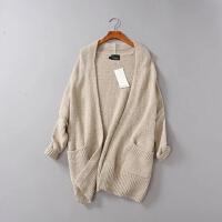 女装秋装新款宽松慵懒中长款长袖纯色羊mao开衫毛衣外套