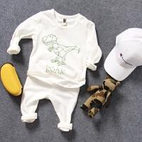 儿童家居服秋冬中小男童宝宝恐龙泡发印棉弹秋衣秋裤2件套装