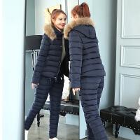 棉衣套装女冬季2018新款时尚韩版修身短款羽绒两件套棉袄棉裤